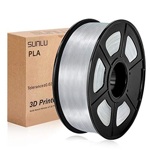 Filamento PLA 1,75 mm 1 kg Transparente, SUNLU Filamento de impresora 3D PLA Transparente 1,75 mm 1 kg Carrete para impresión 3D