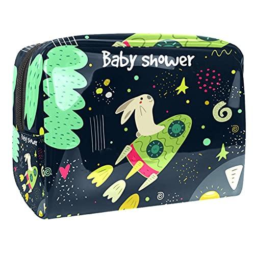 Bolsas de cosméticos a prueba de agua, bolsa de aseo de viaje Spaceship Universe, bolsa de maquillaje con cremallera para mujeres, bolsa organizadora de piscina