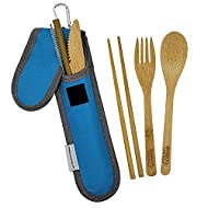Bamboo Travel Utensil Set | Bamboo Fork, Knife, Spoon, Chopsticks, Straw, Straw-cleaning brush, Travel Pouch and Carabiner | Excellent For Everyday Use! ((1Set) Sky Blue)