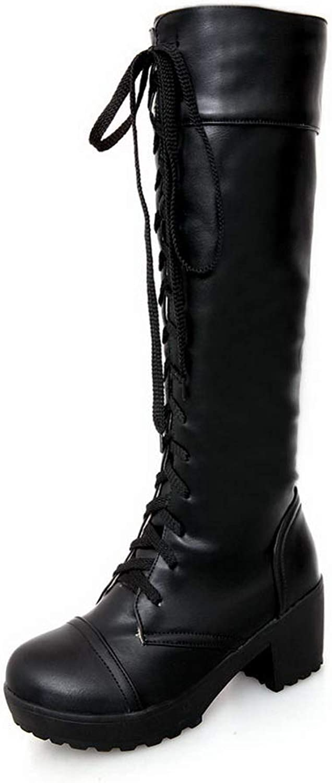 BalaMasa Womens Platform Pleated Dress Urethane Boots ABL10803