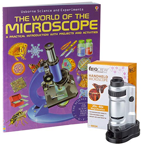 IQCREW by AmScope 20X-40X Kids LED Handheld Pocket Microscope + The World of The Microscope Book