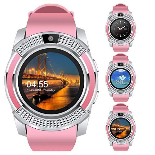 ABYAT V8 Bluetooth Touch Screen Smart Watch Phones with Camera, SIM, SD Card Slot Pink