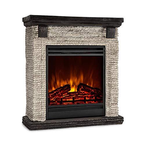 Klarstein Etna - Chimenea eléctrica, Imitación realista de llamas, Potencia de 2 niveles, Temporizador, OpenWindow Detection, Mando a distancia, Roca y madera de polystone, 900 ó 1800 W, Gris oscuro