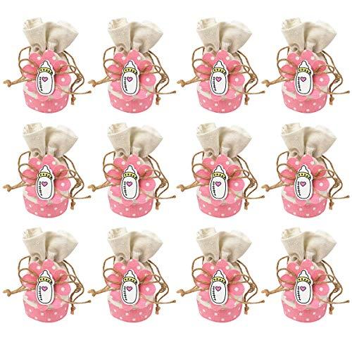 12 Bolsa de Regalo Bautizo Niña,Color Rosa,Arpillera-Lino Botella