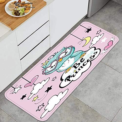 PUIO Juegos de alfombras de Cocina Multiusos,pequeña inscripción de búho bebé Sea Princesa,Alfombrillas cómodas para Uso en el Piso de Cocina súper absorbentes y Antideslizantes
