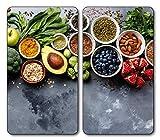 Kesper 36543 13 Multi-Glasschneideplatte Motiv: Healthy Kitchen-Maße: 52 x 30 x 0,8 cm, Glas