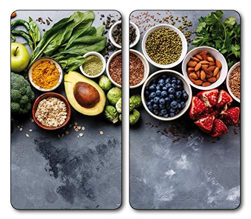 2 x Glas Herdabdeckplatte Herdabdeckung Schneidebrett Abdeckplatte Ceranfeld Design Gemüse Avocado Gewürze
