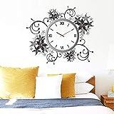 GVC Pegatinas de Pared de Vid de Flor Creativa Pared artística decoración de Sala de Estar Pegatina de Pared Moda Superior Reloj Moderno Pegatina de Pared