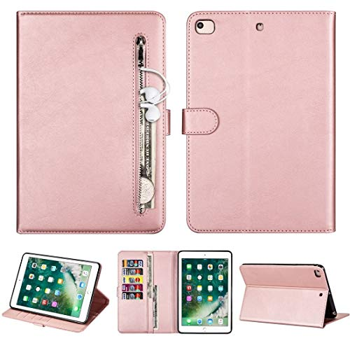 JIANWU Case Cover, For iPad Mini 1/2 / 3/4 / 5 Tablet Fashion Calf Texture Zipper Horizontal Flip Leather Case with Stand & Card Slots & Wallet & Wake-up/Sleep Function (Color : Rose Gold)