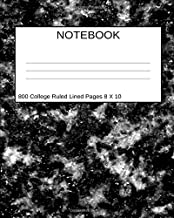 Notebook 800 College Ruled Lined Pages 8 X 10: Black White Marble Stone Design Journal