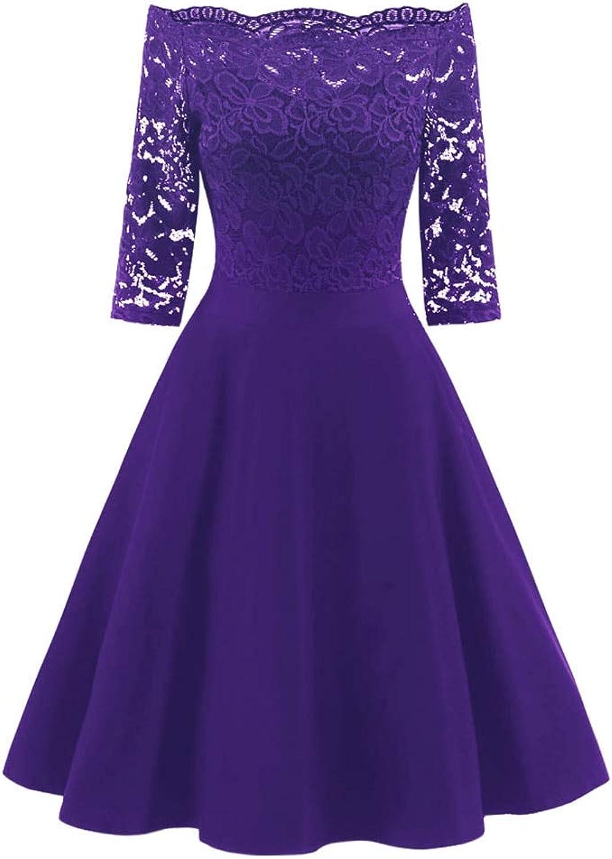 FUZHUANGHM Solid Purple Women Vintage Dress Lace Office Lady Retro Dress Party Formal Dress
