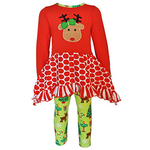 AnnLoren Big Girls' Christmas Clothing Rudolf The Reindeer Tunic & Leggings Holiday Outfit 11-12 Red Green