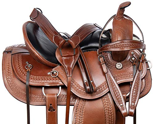 Acerugs Cowgirl UP Barrel Racing Racer Pleasure Trail Show Horse Silver Leather Saddle TACK Set 14 15 16 17 18 (16)