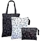 3pcs Waterproof Reusable and Washable Wet Dry Bag Baby Clothes Diaper Stroller Water Resistant Swimsuit Travel Toiletries Pouch Yoga Gym Laundry Shoe Beach Electronic Product Small Medium Large Cat