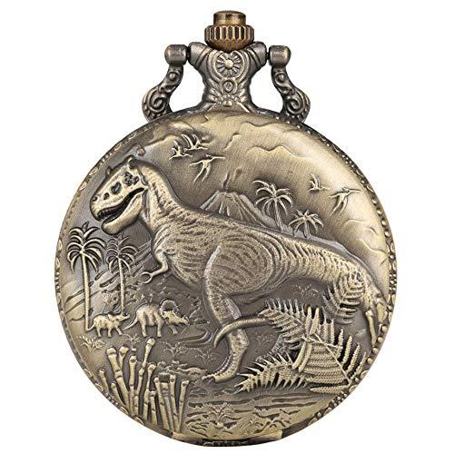 YHWW Taschenuhr Punk Vintage Dinosaurier Display Quarz Taschenuhr Coole Bronze Halskette Uhr Einzigartige Antike Anhänger Uhr Geschenke für Jungen Mädchen