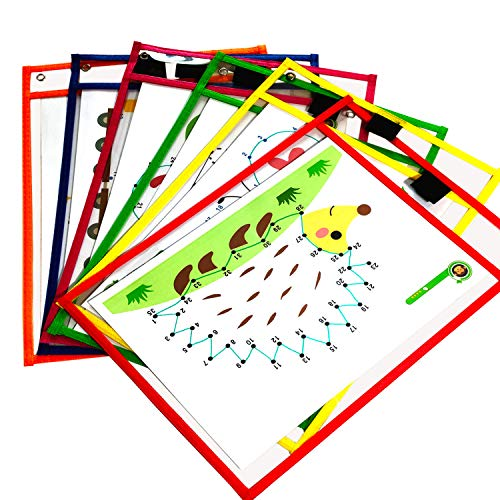 YUESUO Dry Erase Pockets 6 Pack - Dry Erase Sleeves Oversized 10 x 13 Inches Teacher-Supplies- for-Classroom-Reusable-Dry-Erase-Pockets-Sleeves Assorted Colors