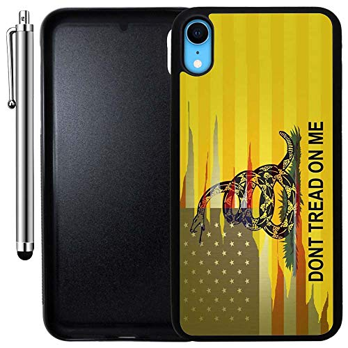 Custom Case Compatible with iPhone XR (Dont Tread On Me Best Flag) Edge-to-Edge Rubber Black Cover Ultra Slim | Lightweight | Includes Stylus Pen by Innosub