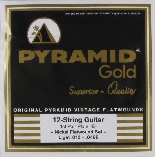 Pyramid Gold Chrome Nickel Flat Wound 12 String Electric Guitar Strings, .010 - .0465