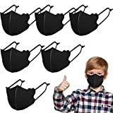 SATINIOR 6 Pieces Kid Face Covering Reusable Washable Face Cover Breathable Face Covering Nose Mouth Cover Face Covering with Adjustable Straps for Outdoors Playing Sport School 3-9 Youth, Black