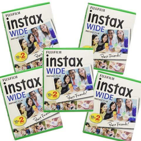 Fujifilm Instax Wide - Set de 5 cajas de 20 carretes (100 fotos formato ancho) para Fuji Instax 210 200 100 300 Instant Photo Camera