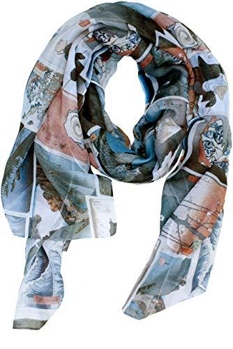 RobeCode Damen Schal Ukiyo-e- bedrucktes Designer Oversize-Tuch japanischen Zeichnungen, blau weiß rot, luftig leichter XXL Sommerschal aus Voile Gewebe