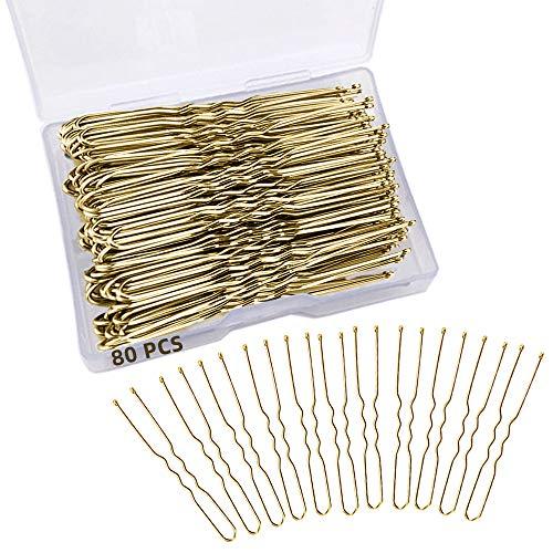 AOBETAK 80 Stück Haarnadeln, Gold Metall U Form Haarnadeln mit Aufbewahrungsbox, Blond Haarnadel Pins Haarspangen Haarklammer für Damen Mädchen und Frauen (6 cm/2.36 zoll)