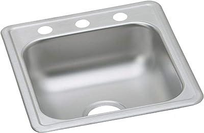 Elkay DLRQ2219105 5-Hole Gourmet Lustertone Stainless Steel 22-Inch x 19-1//2-Inch Single Basin Kitchen Sink