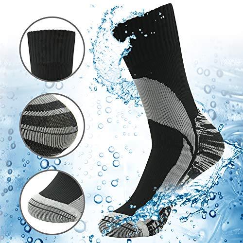 100prozent wasserdichte atmungsaktive Socken [SGS-zertifiziert] RANDY SUN Unisex Sport Klettern Ski Trekking Wandern Socken, Herren, 1-graue wasserdichte Skistiefensocken, Medium