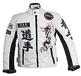MDM Racing Jacke Weiß für Kinder, Motorradjacke aus Textil, Bikerjacke (3XL)