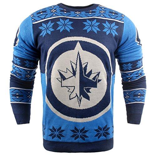 NHL Winnipeg Jets Unisex NHL Big Logo Ugly Crew Neck Sweater, Large