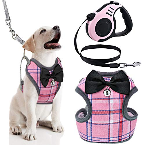Weewooday Dog Harness with Retractable Leash Pink Plaid Puppy Vest Harness for Small Medium Pet Dogs
