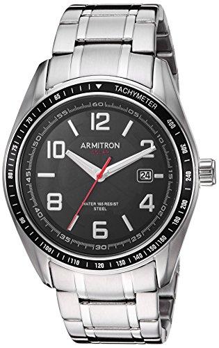 Armitron Herren Quarz Analog Uhr mit Edelstahl Armband 20/5252BKSV