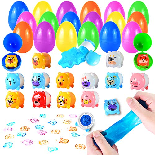 JOYIN 24 Cute Animal Slime Stamps Filled Easter Eggs for Easter Eggs Hunt, Easter Basket Stuffers/Fillers, Filling Treats, Party Favor, Classroom Prize Supplies