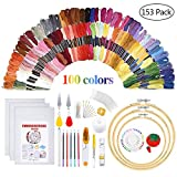 Embroidery Starter Kit - Embroidery Kit Including 100 Color Threads, Instructions, 5 PCS Bamboo Embroidery...