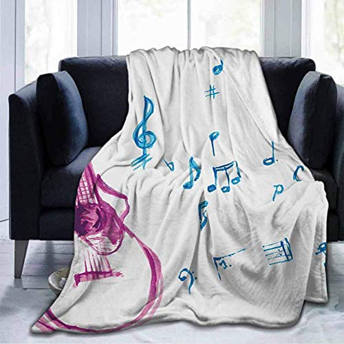 Flannel Throws Blankets Durable Bed Couch Guitar,Watercolor Musical Instrument With Notes Sheet Elements Brush Stroke Effect,Magenta Blue White, For Sofa Chair Bed Office Travelling Camping 60' X 80'
