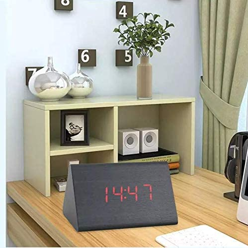 Renyke CKV_005 Digital 2020モデル LED 物品 Wooden Triangle Clock Shape Alarm Voi