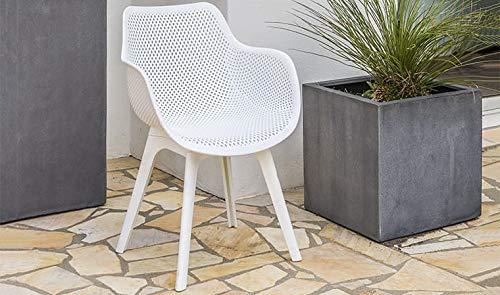 DCB GARDEN Scandi Fauteuil de Jardin, Plastique, Blanc, L 55 x l 48 x H 85 cm
