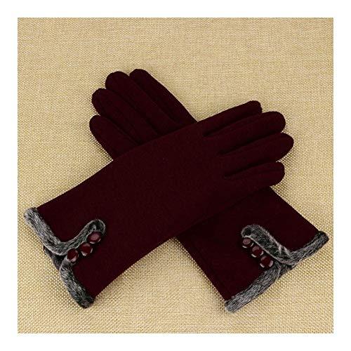 YUNGYE Femmes Femmes Gants d'hiver Chauds Femmes Leater imperméables Gants de Conduite de Doigts complets Gants écran Tactile (Color : Wine, Size : Free Size)