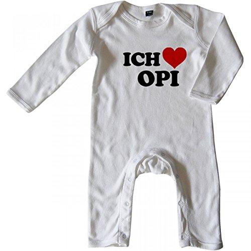 Mikalino Baby Schlafanzug Ich Liebe Opi Langarm, Größe_Farbe:6-12 Monate;Farbe:Weiss
