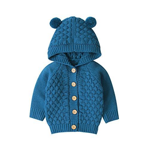 Hnyenmcko Peuter Baby Jongen Meisjes Gebreide Jas Oor Trui Knop Down Hooded Tops Herfst Winter Outwear