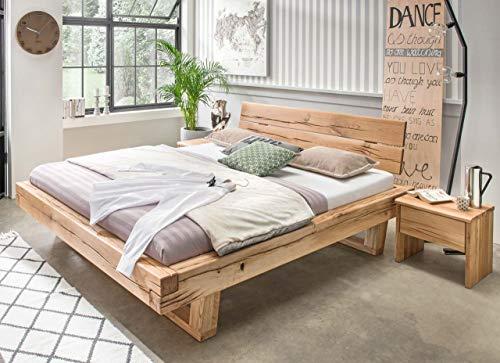 MSZ Design Balkenbett Gorm Holzbett Eiche massiv mit geölter Oberfläche, Größe:180 x 200 cm