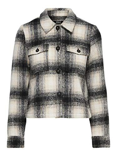 ONLY Damen ONLLOU Short Check Jacket CC OTW Jacke, Pumice Stone, S