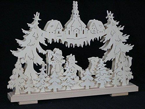 Rudolphs Schatzkiste Schwibbogen EL. Beleuchtet mit Schneemann, Kinder und Kirche B x H= 44x32cm NEU Lichterbogen Fensterschmuck Erzgebirge Holz