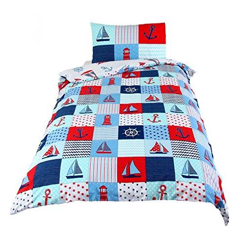 Caravan Kids Boot Print maritime Streifen Patchwork-Quilt-Fun-Bettwäsche-Set für Einzelbett, Blau