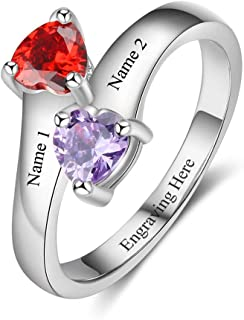 Personalized Promise Rings for Her with 2 Simulated...