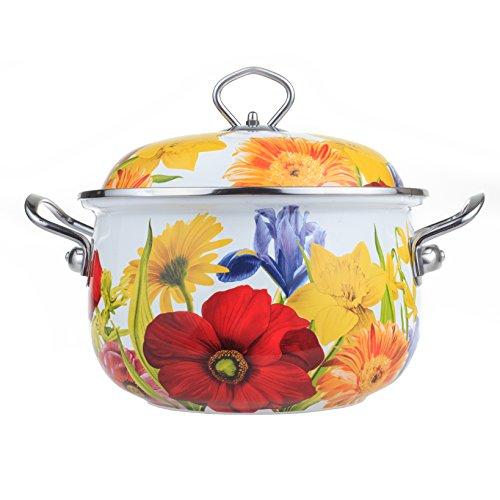 The Pioneer Woman Floral Garden 4-Quart Dutch Oven. Enamel Pot with Cover. Dishwasher Safe. Enamel on Steel construction. (Flower)