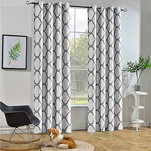 Melodieux Moroccan Fashion Thermal Insulated Grommet Room Darkening Curtains for Living Room, 52 by 84 Inch, Off White/Grey (1 Panel)