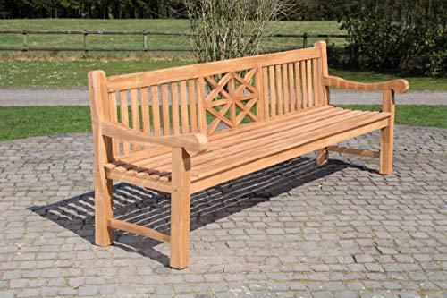 CLP Teak-Gartenbank Florida I Sitzbank Mit Ergonomischer Sitzfläche Aus Vollholz I Sitzhöhe: 44 cm, Farbe:Teak, Größe:220 cm