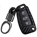 Royalfox(TM Luxury 3 Buttons Soft Carbon Fiber flip Remote Key Fob case Cover for Audi A1 A3 A4 A5 A6 Q2 Q3 Q7 TT S3 R8 Accessories,with Keychain (Silicone Carbon Fiber)