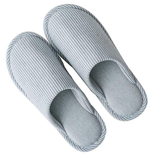 SOIMISS Pantoufles de Sol Simples en Coton Rayé Antidérapant en Mousse à Mémoire de Forme Pantoufle en Coton Lavable Chaussures de Maison Pantoufles pour La Maison de L'hôtel (Bleu Taille